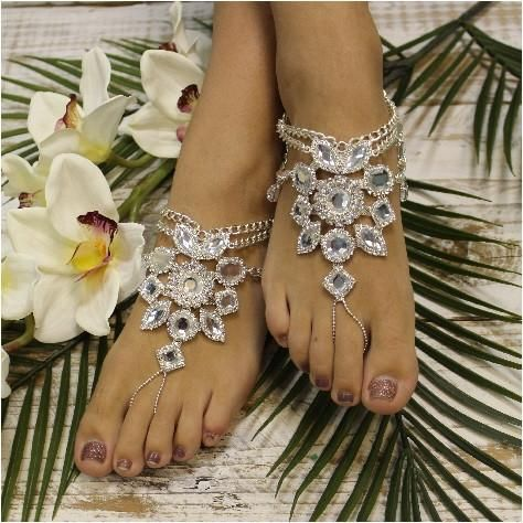 barefoot sandals wedding lacerhinestonewedding foot jewelry