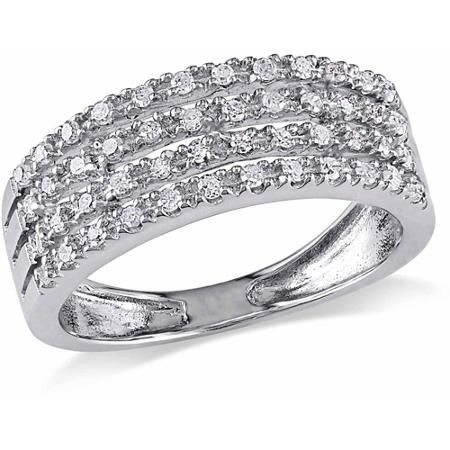 Miabella 1 4 Carat T W Diamond Sterling Silver Four Row Semi