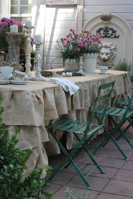Burlap ruffled tablecloth