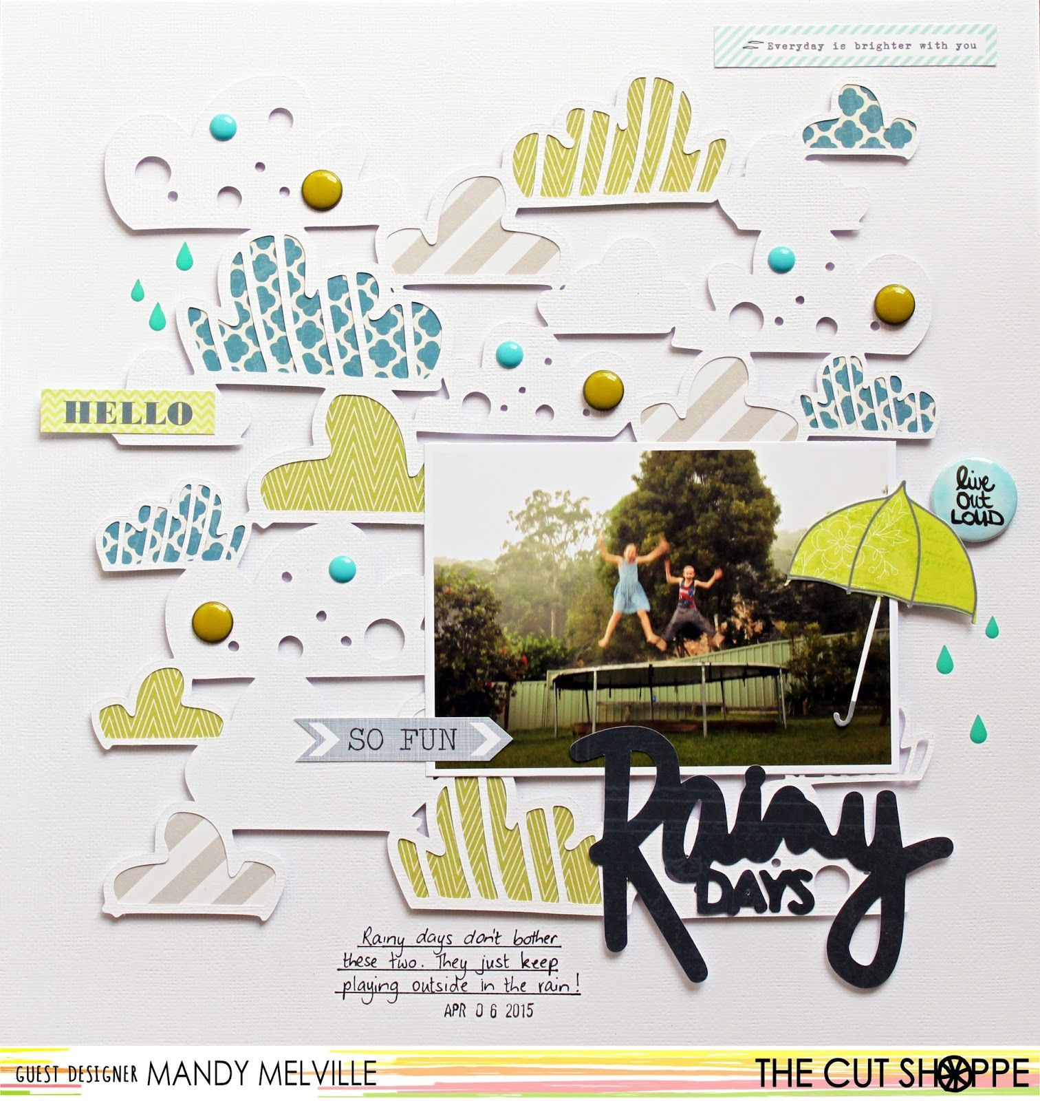 Rainy Days | The Cut Shoppe Design Team Layout | Pink Paislee Atlas patterned papers | D-lish Scraps embellishments
