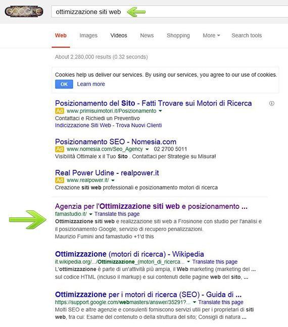 pagina con risultati di ricerca del posizionamento sul motore Google