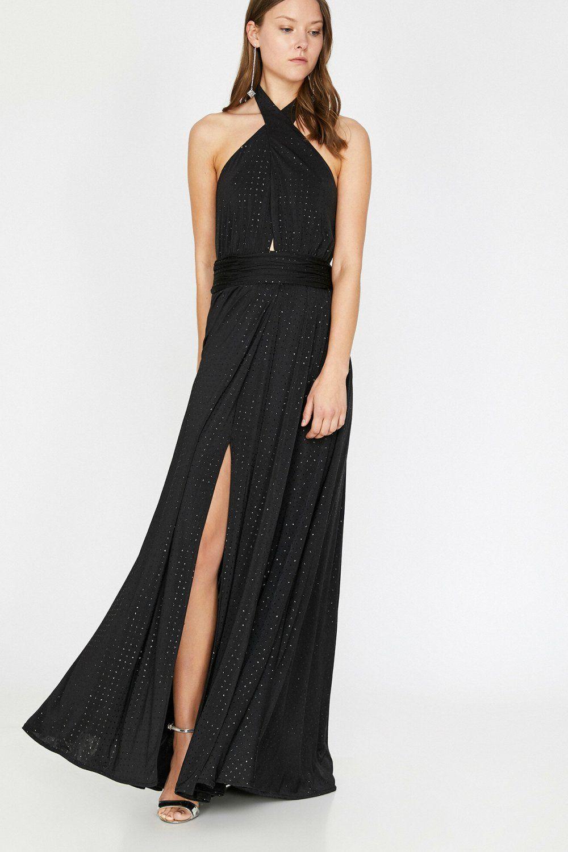 Koton Sirt Dekolteli Desenli Siyah Uzun Elbise Elbisebul Uzun Elbise The Dress Elbise