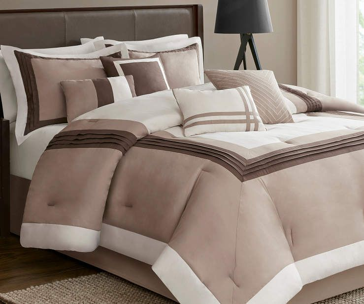 Hotel Taupe, Chocolate  Ivory 8-Piece Queen Comforter Set at Big