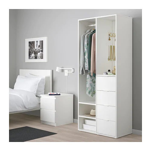 SUNDLANDET Open wardrobe    IKEA is part of Open wardrobe - IKEA  SUNDLANDET, Open wardrobe, , Handy storage space to keep your hairbrush and other grooming accessories on the shelf under the mirror Clothes rail, drawers