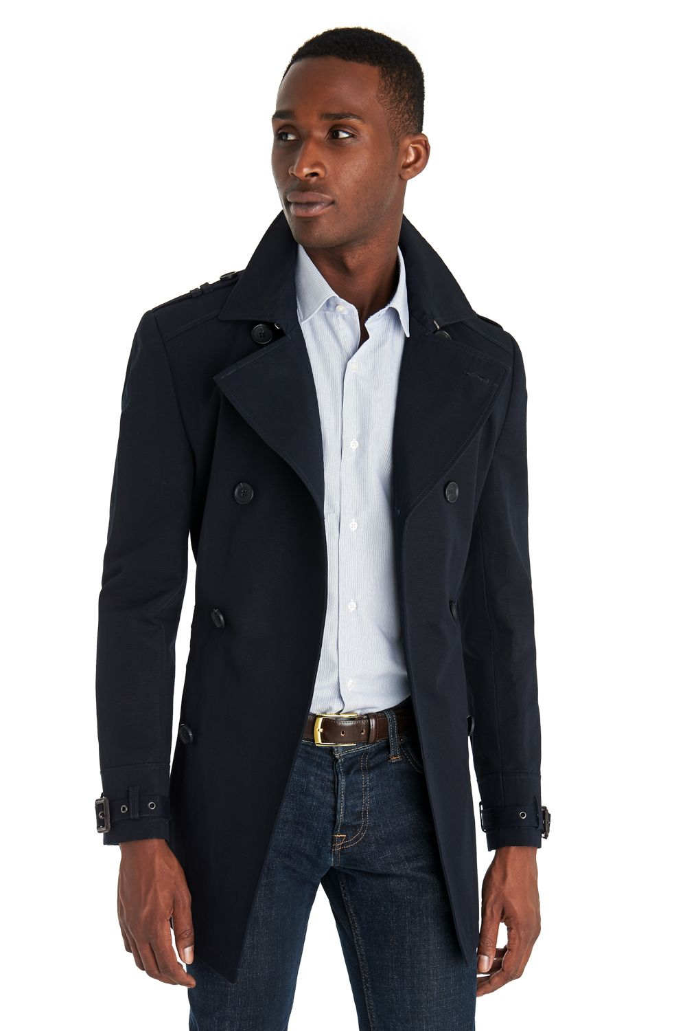 4c286518a689 This French Connection Tailored Navy Rain Mac features a double breasted  style front