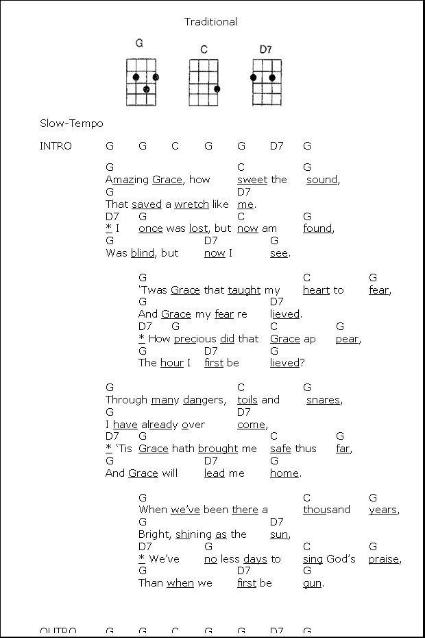 Amazing Grace Ukulele Songs Ukulele Chords Ukulele Chords Songs
