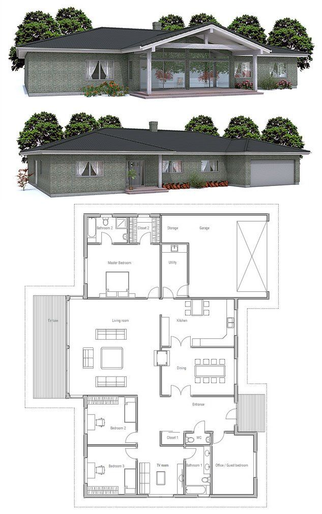 Modern House Ch141 Bungalow House Design House Plans Dream House Plans