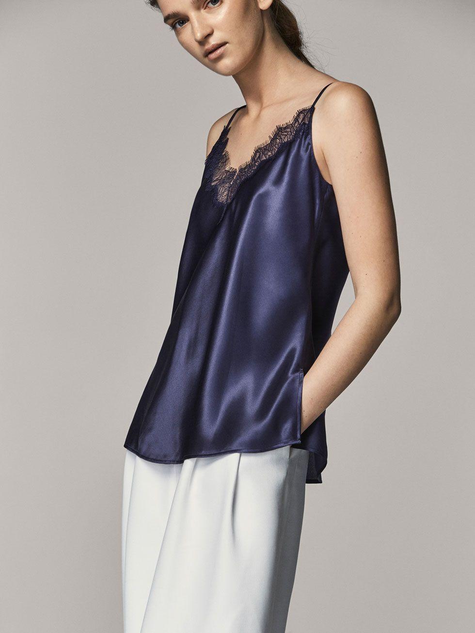 0563b9047d3be1 TOP SEDA DETALLE ENCAJE de MUJER - Camisas y Blusas - Tops de ...