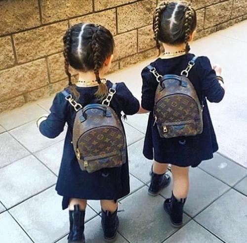 cad59ba50 Adorable: Louis Vuitton Backpack twins | Louis Vuitton | Baby girl ...