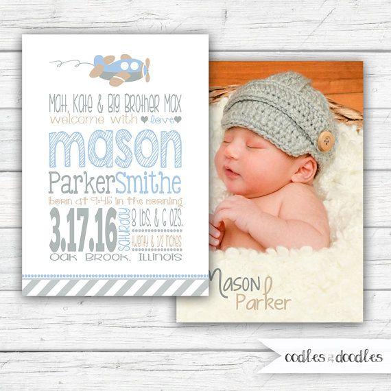 Baby Boy Birth Announcement, Birth Announcement Boy, Airplane