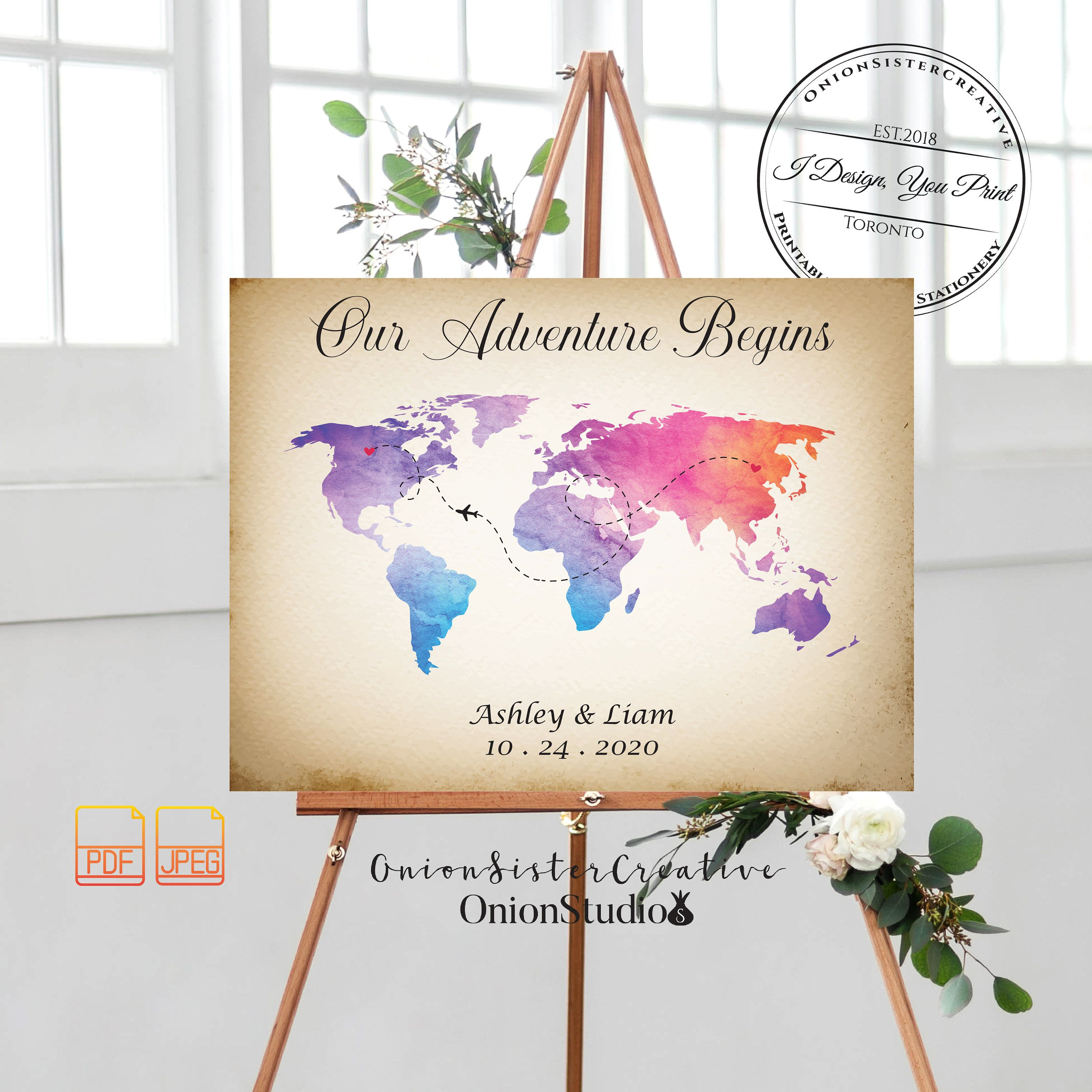 World Map Guest Book Sign Printable Vintage Wedding Guestbook Sign