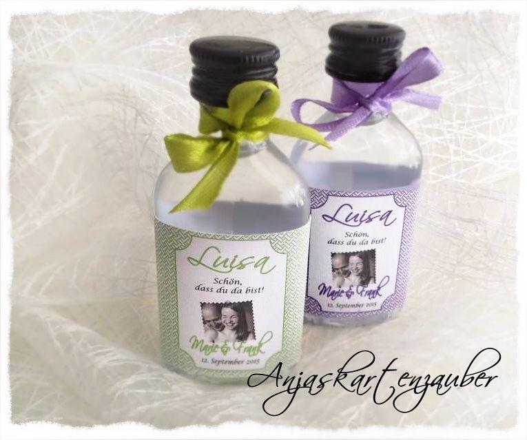 Kleine flaschen lik r colors mit gastnamen hochzeit gastgeschenke hochzeit gast und - Gastgeschenke silberhochzeit ...