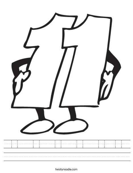 11 11 11 11 11 11 Worksheet Coloring Pages Eleventh Numbers Preschool