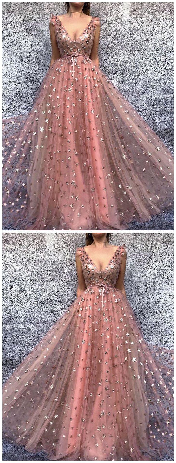 chic aline v neck prom dresses pink long prom dress evening