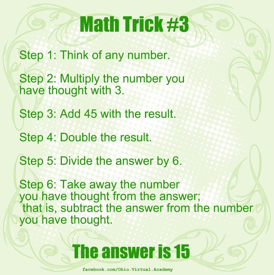 Worksheets Mind-readingnumbertrick — Mathfunfacts math trick 3 follow the steps and your answer should be 15 1 1