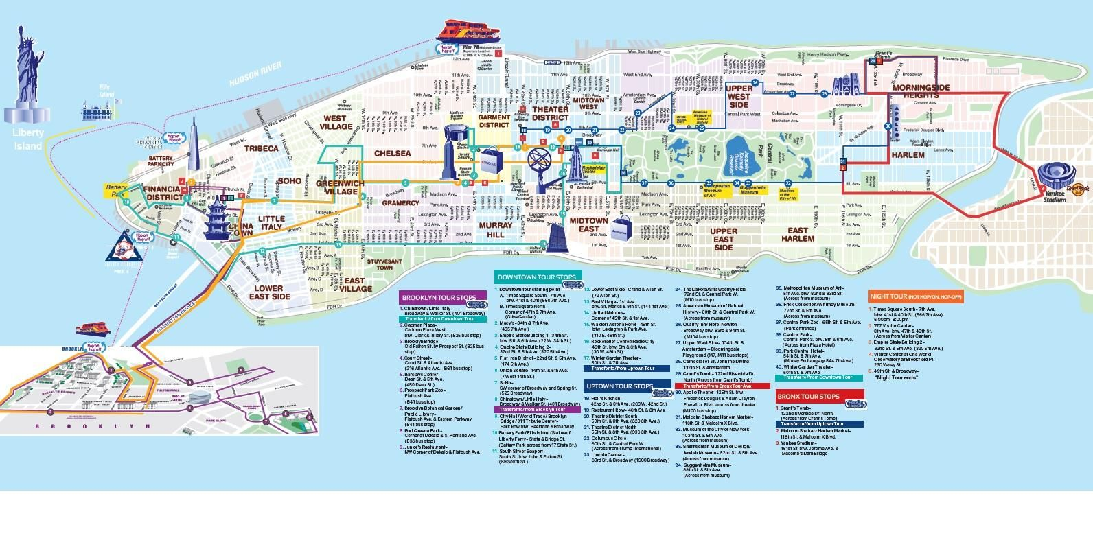 Map Of Nyc 72 Hour Hop On Hop Off Bus Pass And Empire State Building