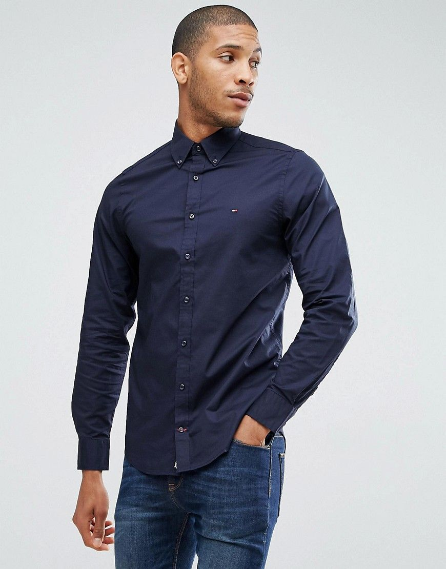 b00875f2 Get this Tommy Hilfiger's basic shirt now! Click for more details.  Worldwide shipping. Tommy Hilfiger Oxford Shirt With Stretch In Slim Fit in  Blue - Blue: ...