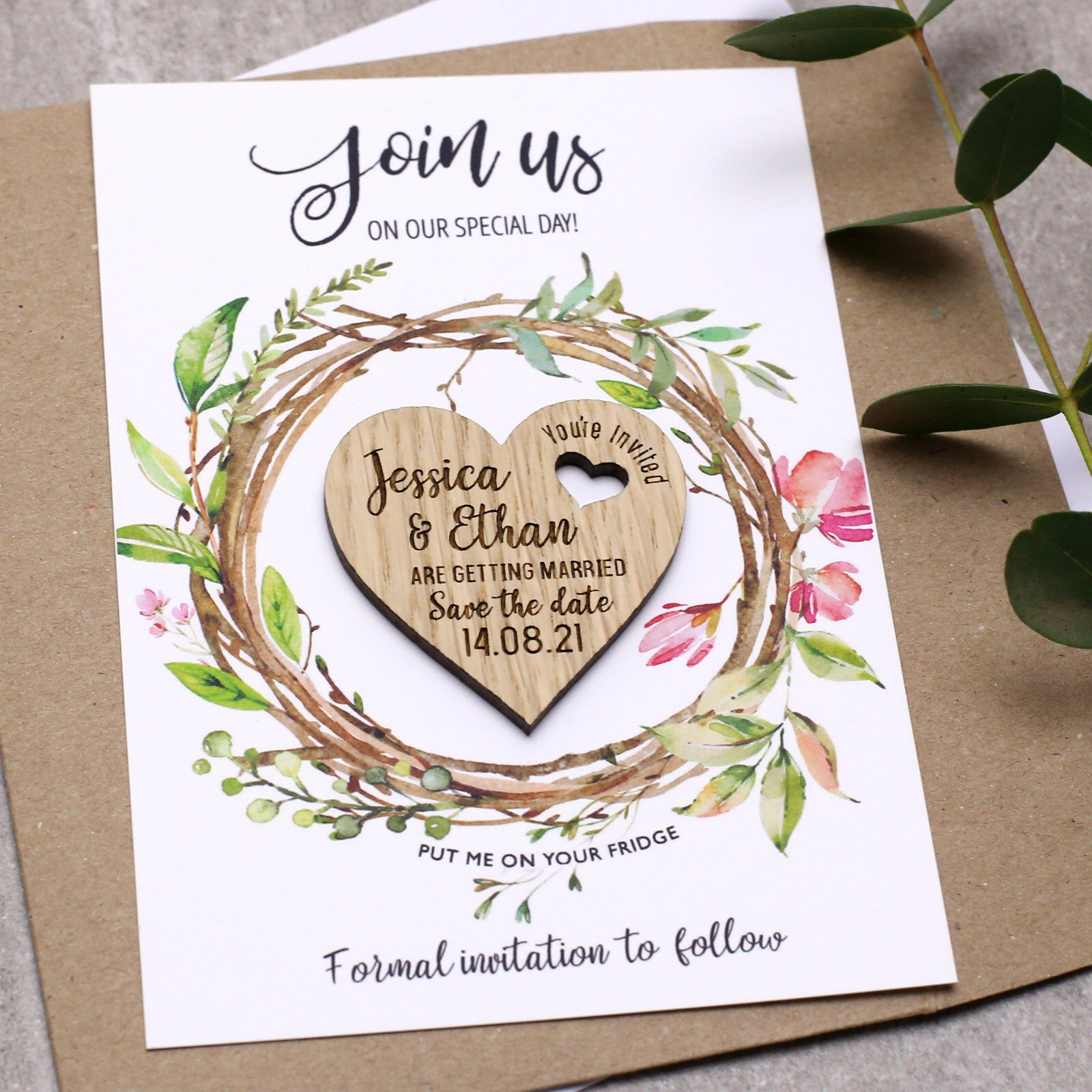 Save The Date With Cards, Personalised Wooden Heart