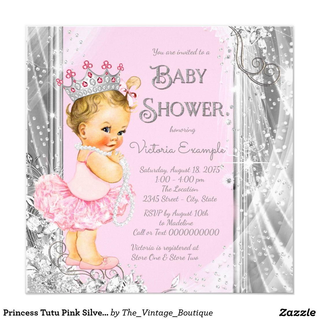 Princess Tutu Pink Silver Baby Shower Card   Princess tutu and Tutu