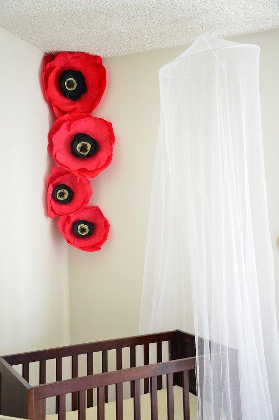 Giant Red Paper Flowers Poppies Crepe Set Nursery Boho Decor S Room Flower Photo Backdrop
