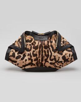 11cc5a89e94c Alexander McQueen De-Manta Leopard-Print Calf Hair Clutch Bag ...