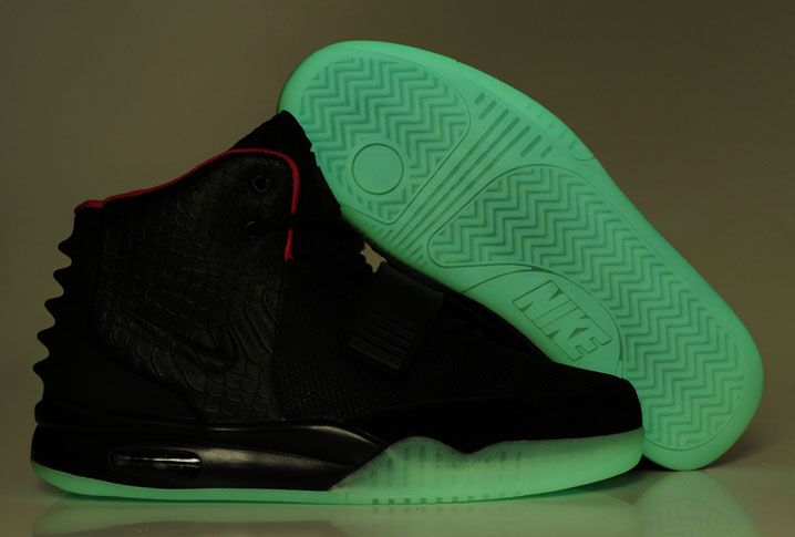 Kanye West Nike Air Yeezy 2 Black-Solar Red Glow In The Dark