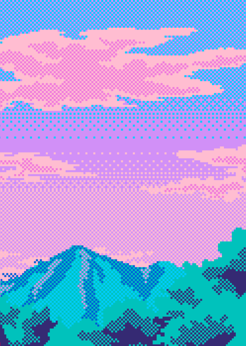Iridescent Colors Glitch Pixels Retro Videogame Scene