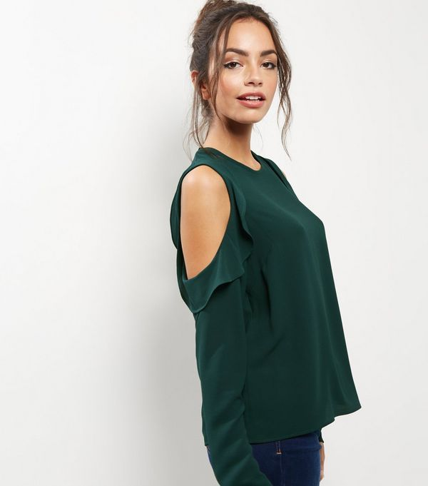 f6ce213480a174 Dark Green Frill Trim Cold Shoulder Top