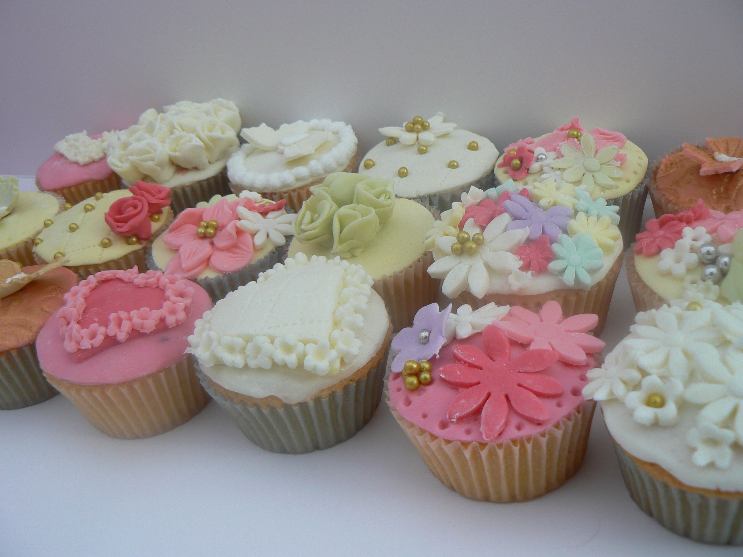 Selection of wedding cupcakes.