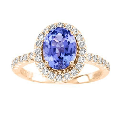 14kt Yellow Gold Oval Tanzanite and Diamond Ring 2.48ctw