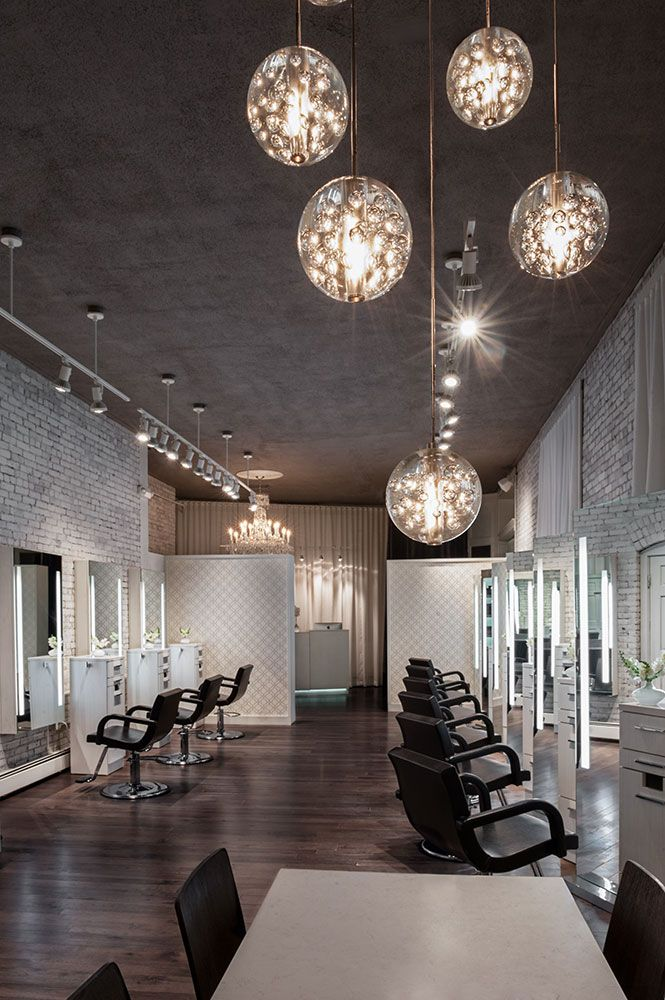 Create An Elegant Statement With A White Brick Wall Design Ideas Beauty Salon Interior Salon Lighting Beauty Salon Design