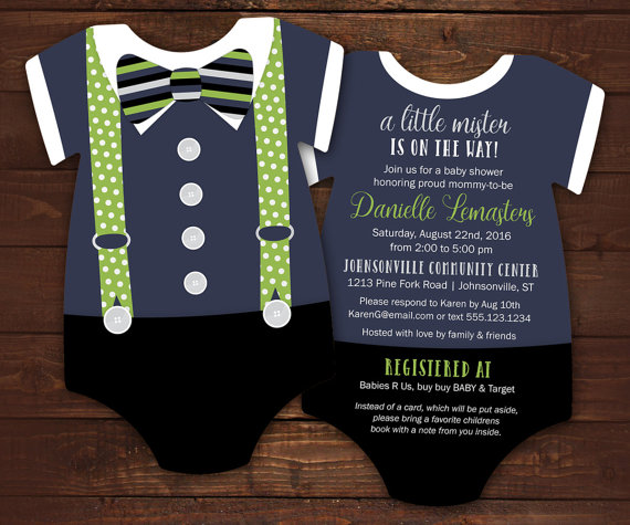 Bowtie baby shower invitation set navy green suspenders bowtie baby shower invitation set navy green suspenders invitation bodysuit die cut shape little mister gentleman 10 printed invites stopboris Choice Image