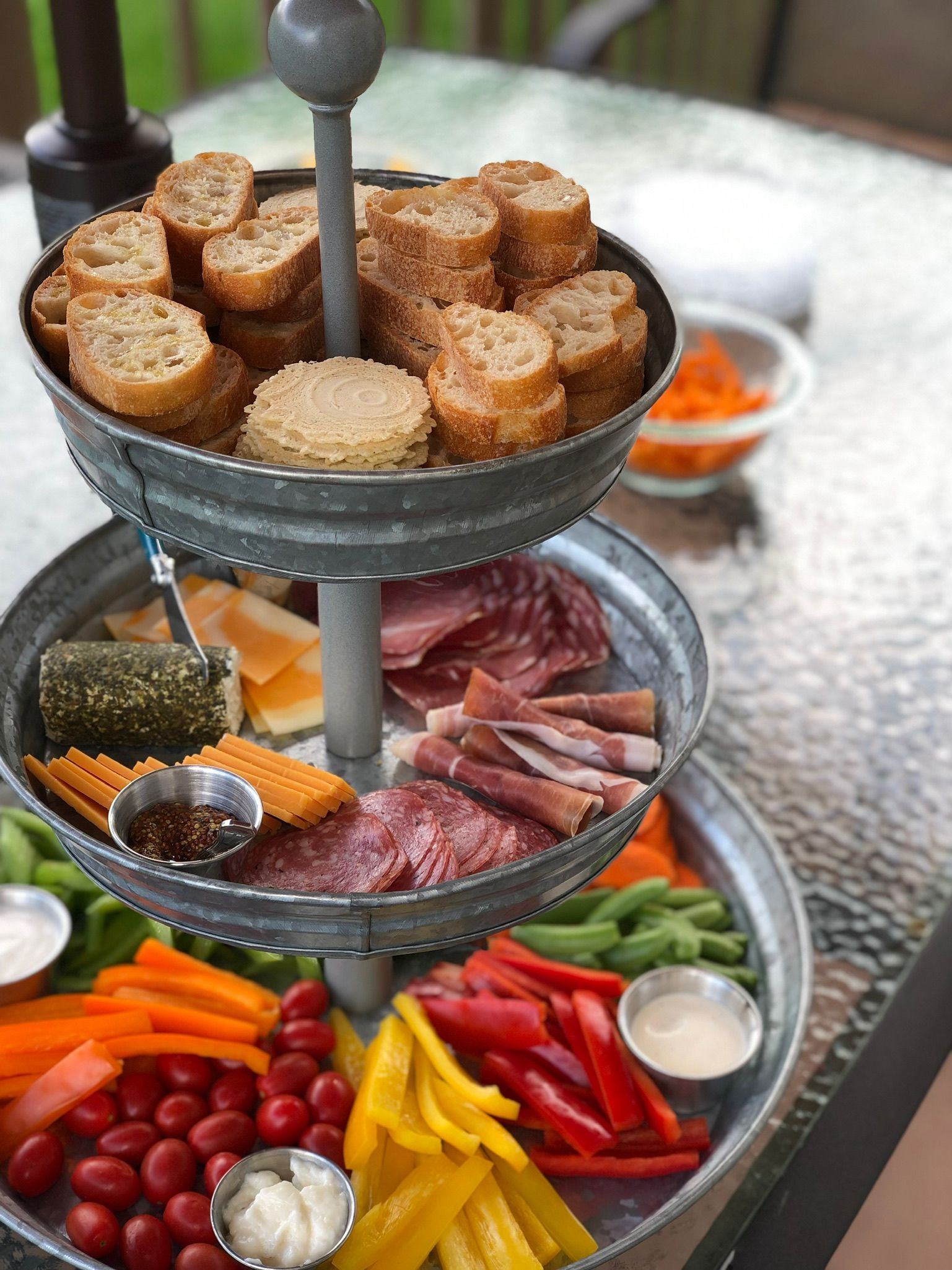 3 Tiered Charcuterie Tray Party Food Trays Food Displays Snack Display