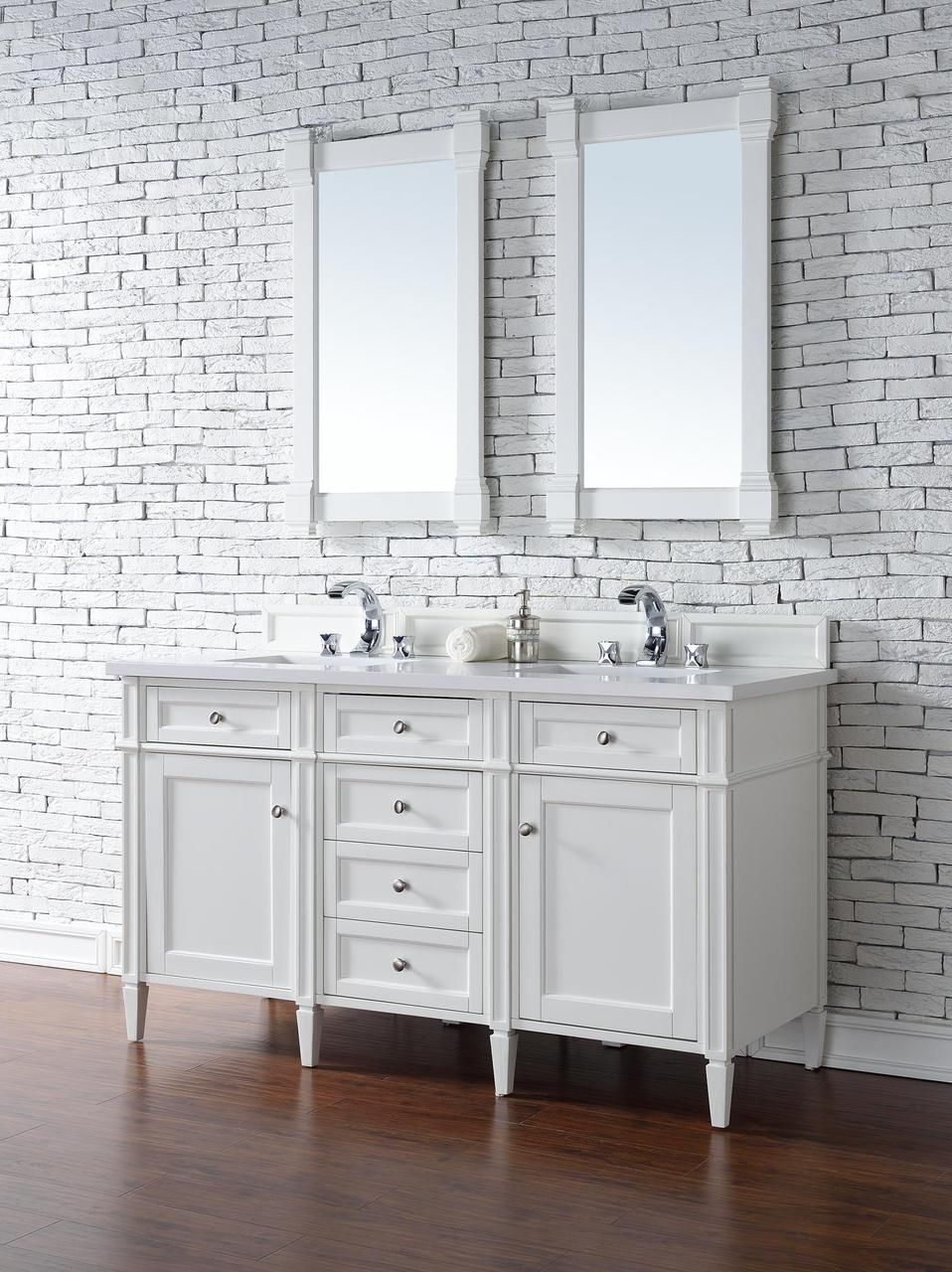 James Martin Brittany Collection 60 White Double Vanity White Vanity Bathroom Bathroom Sink Vanity