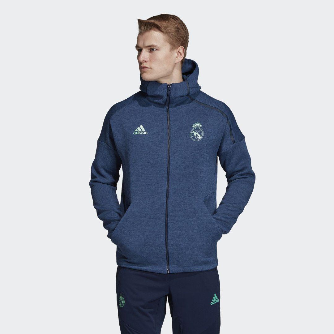 Adidas Real Madrid Adidas Z N E Hoodie Blue Adidas Us Soccer Hoodies Real Madrid Printed Hoodie Men