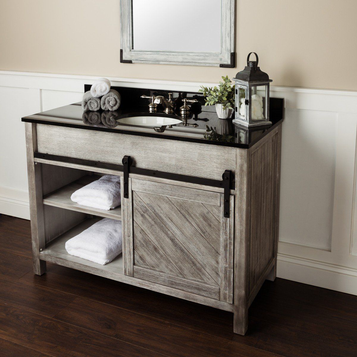 48 Inch Weathered Barn Door Vanity Bathroom Design Black Farmhouse Bathroom Vanity Bathroom Decor