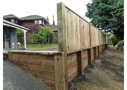 Image result for retaining wall timber Retaining wall