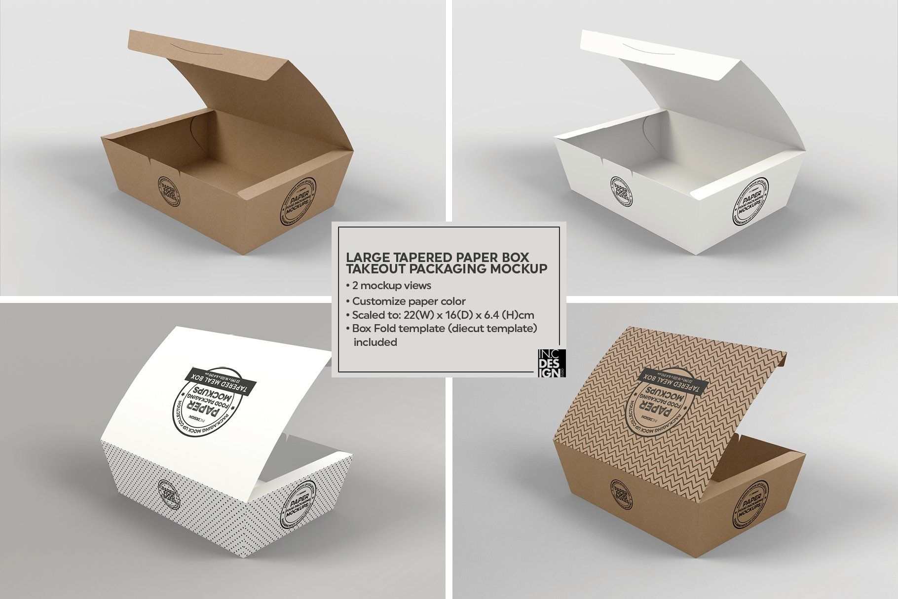 Download Paper Tapered Takeout Boxes Mockup Packaging Mockup Food Box Packaging Box Mockup