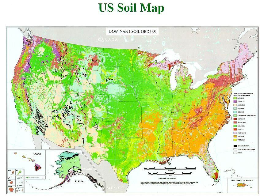 Us Soil Map Of Soil Orders Soil Types Of Soil Sand Gravel