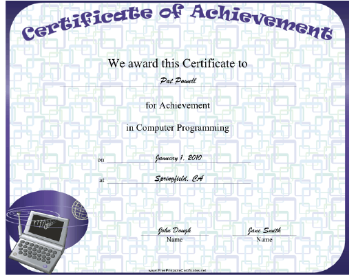 This Computer Programming Achievement certificate features a laptop ...