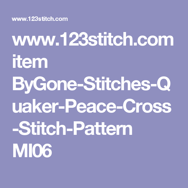 www 123stitch com item ByGone-Stitches-Quaker-Peace-Cross