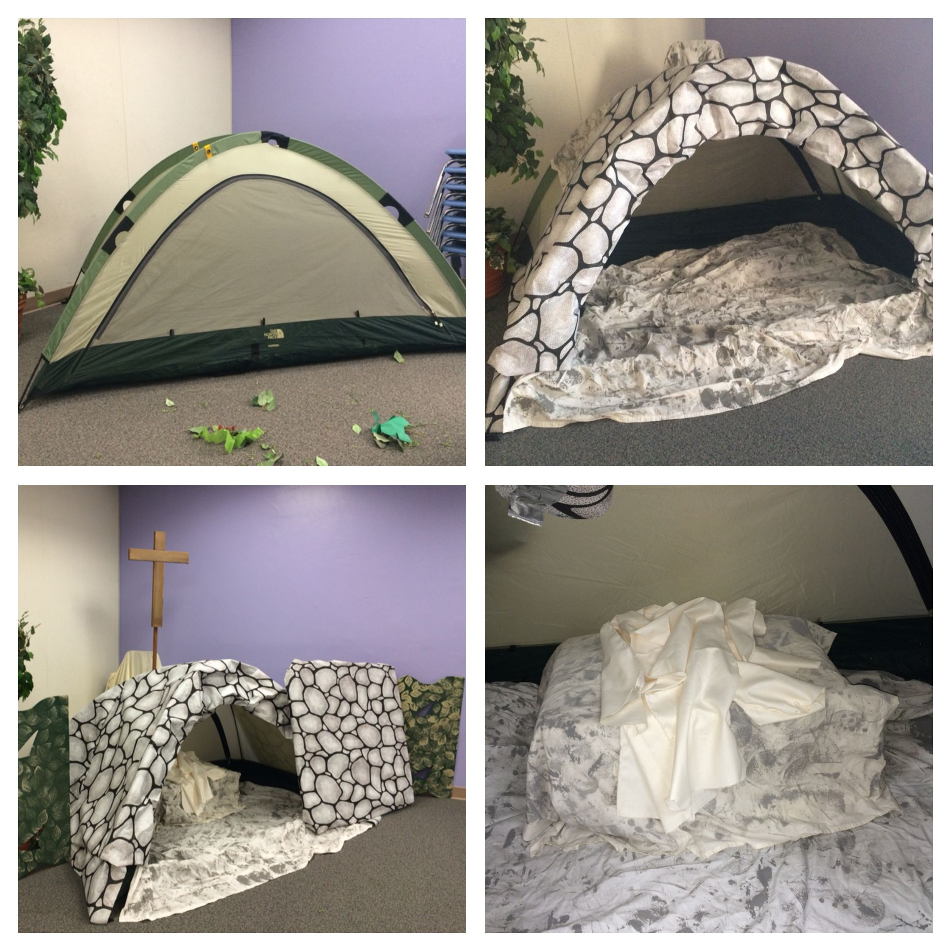 Jesus 39 empty tomb made from a pop up camping tent i am for Craft stores bakersfield ca