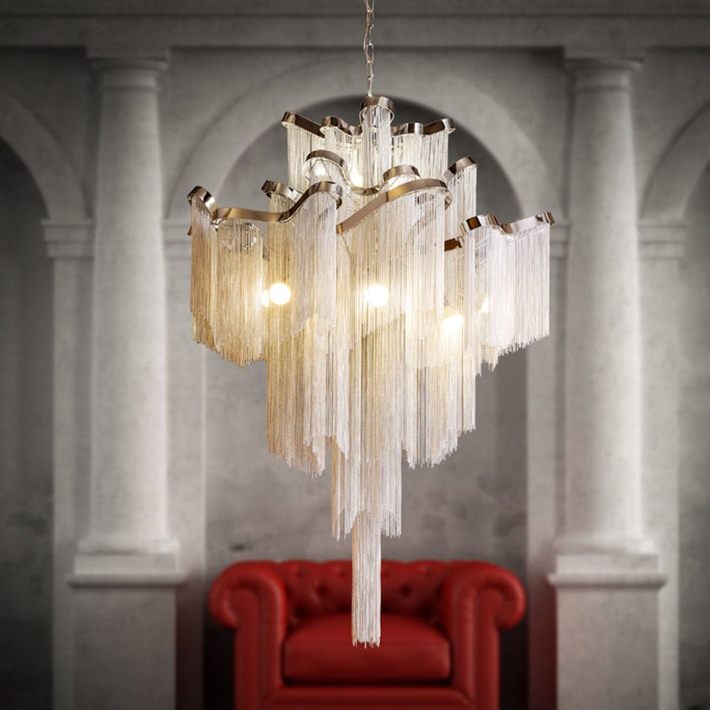 Luxury waterfall chandelier hotel ceiling lamp villa top grade luxury waterfall chandelier hotel ceiling lamp villa top grade lighting meeting hall light with 1m adustable arubaitofo Choice Image