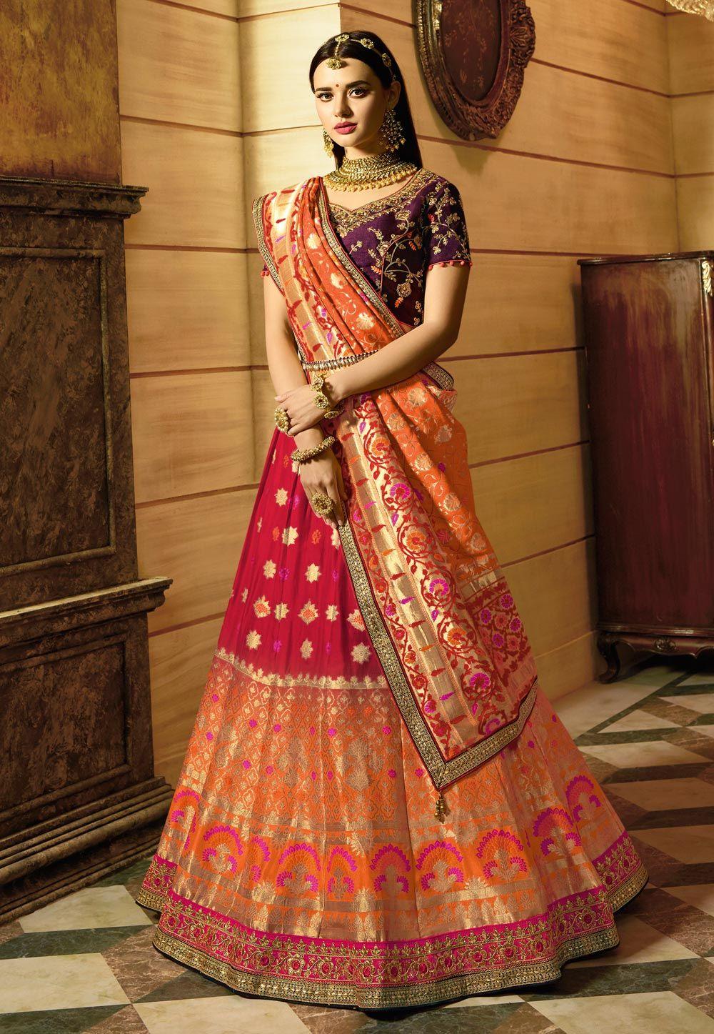 5dff8e328b Buy Orange Banarasi Silk Designer Lehenga Choli 153913 online at best price  from vast collection of Lehenga Choli and Chaniya Choli at  Indianclothstore.com.