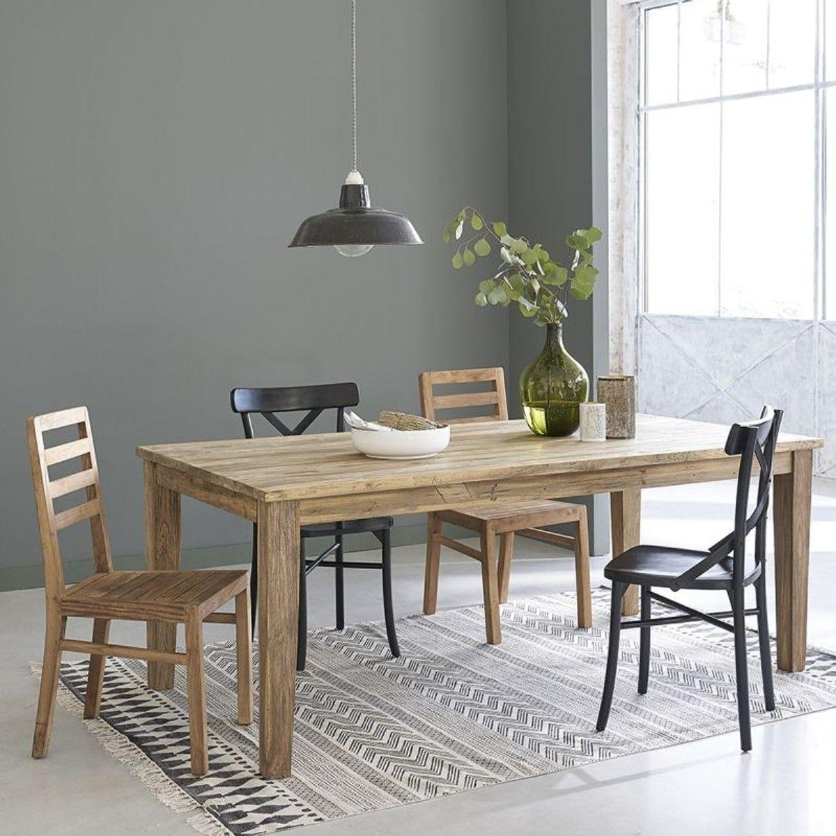 Table En Bois De Teck Recycle Avec Rallonges 8 A 12 Couverts Salle A Manger Industrielle Table Bois Bois De Teck