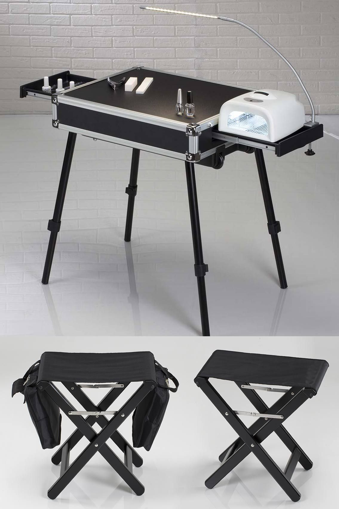 Complete mobile nail workstation professional nails for Folding nail table