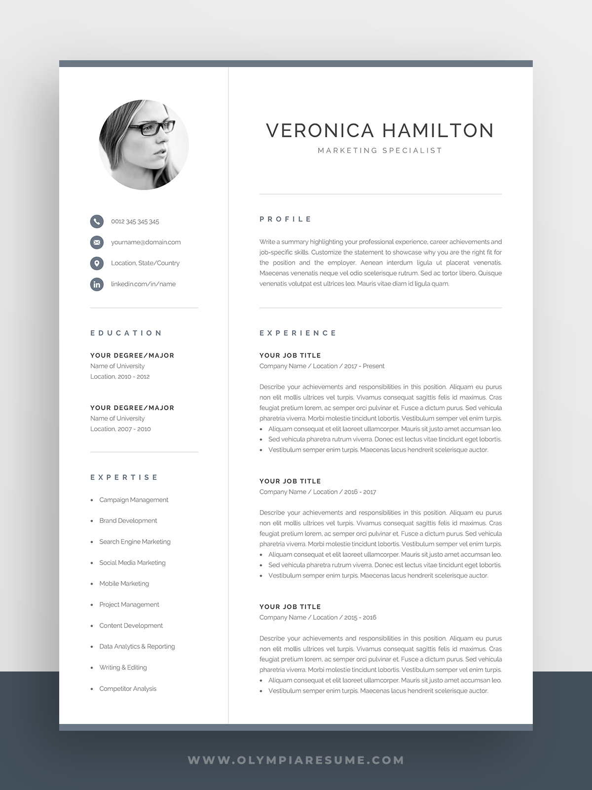 Professional Cv Template With Photo Modern Photo Resume Etsy Cv Template One Page Resume Template Cv Template Professional