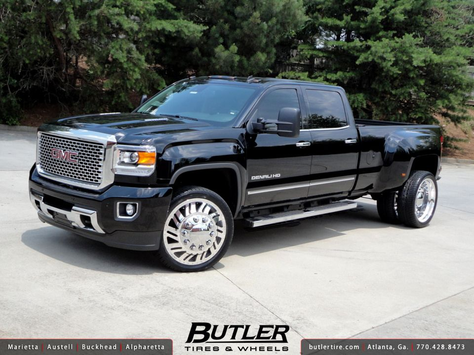 Gmc Denali 3500 Dually With 24in American Force Shift Wheels Gmc Denali Gmc Trucks Dually Trucks