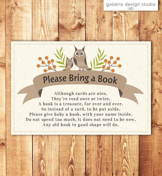Woodland owl baby shower invitation insert please bring a book woodland owl baby shower invitation insert please bring a book instead of a card by galleria design studio stopboris Image collections
