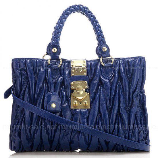 3afc09f3ec6 Miu Miu Blue Petrol Matelasse Cow Leather Bags